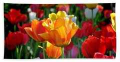 Tulips In The Spring Beach Sheet