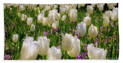 Beach Towel featuring the photograph Tulips In White by D Davila
