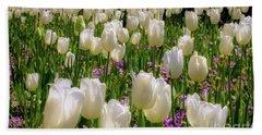Tulips In White Beach Sheet