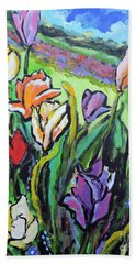 Beach Towel featuring the painting Tulips by Jodie Marie Anne Richardson Traugott          aka jm-ART