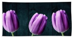 Tulips On Wood Beach Towel