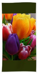 Beach Towel featuring the photograph Tulips Smiling by Marie Hicks