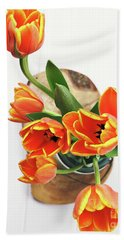 Beach Towel featuring the pyrography Tulips by Stephanie Frey