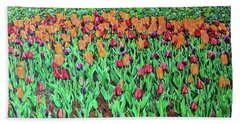 Beach Towel featuring the painting Tulips Tulips Everywhere by Deborah Boyd