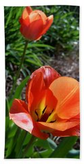Beach Towel featuring the photograph Tulips Wearing Orange by Sandi OReilly