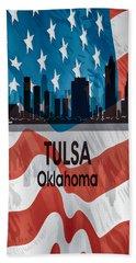 Tulsa Ok American Flag Vertical Beach Towel