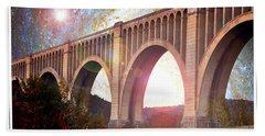 Tunkhannock Viaduct, Nicholson Bridge, Starry Night Fantasy Beach Towel