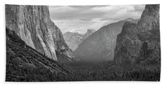 Tunnel View Bw Beach Sheet by Chuck Kuhn