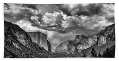 Tunnel View In Black And White Beach Towel by Rick Berk