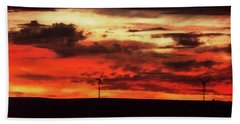 Turbines At Sunset Beach Towel