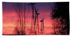 Turbines, Trees And Twilight Beach Towel