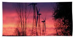 Turbines, Trees And Twilight Beach Sheet by Kathy M Krause