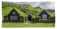 Turf Roof Houses And Shed, Skogar, Iceland Beach Towel