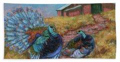 Beach Sheet featuring the painting Turkey Tom's Tango by Xueling Zou