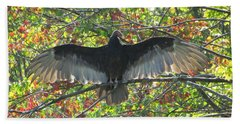 Turkey Vulture In Our Tree Beach Towel by Betty Pieper