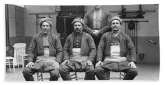 Turkish Wrestlers Practicing For The Golden Belt 1904 Beach Sheet