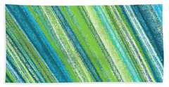 Turquoise And Green Art Beach Towel