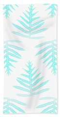 Beach Towel featuring the digital art Turquoise Fern Array by Karen Dyson