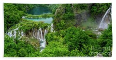 Turquoise Lakes And Waterfalls - A Dramatic View, Plitivice Lakes National Park Croatia Beach Sheet