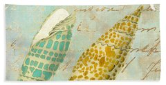 Turquoise Sea Shells Beach Towel