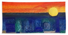 Beach Towel featuring the painting Turquoise Sunset by Norma Duch