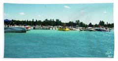 Turquoise Waters At The Torch Lake Sandbar Beach Towel
