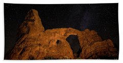 Beach Towel featuring the photograph Turret Arch And The Milky Way - Utah by Gary Whitton