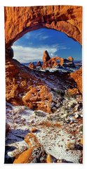 Beach Towel featuring the photograph Turret Arch Through North Window Arches National Park Utah by Dave Welling
