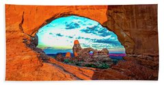 Beach Towel featuring the photograph Turret Arch Through Window by Norman Hall