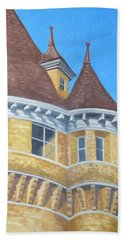 Beach Towel featuring the drawing Turrets Of Lawson Tower by Dominic White