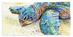 Beach Sheet featuring the painting Turtle At Poipu Beach 4 by Marionette Taboniar