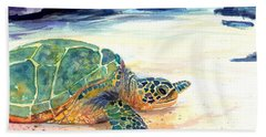 Turtle At Poipu Beach 5 Beach Sheet