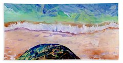 Beach Sheet featuring the painting Turtle At Poipu Beach 9 by Marionette Taboniar