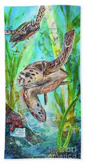 Beach Towel featuring the painting Turtle Cove by TM Gand