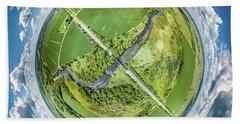 Beach Towel featuring the photograph Turtle Creek Railroad Bridge Little Planet by Randy Scherkenbach