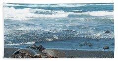 Turtles On Black Sand Beach Beach Towel