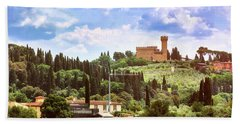 Tuscan Fields And Old Castle In Florence Beach Towel