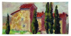 Tuscan House With Hay Beach Towel