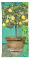 Tuscan Lemon Topiary - Damask Pattern 1 Beach Towel