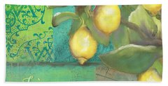 Tuscan Lemon Tree - Damask Pattern 2 Beach Towel