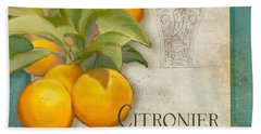 Tuscan Orange Tree - Citronier Aurantiaco Lignum Vintage Beach Towel