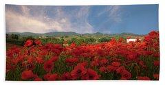 Tuscan Poppy Field Beach Sheet