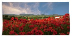 Tuscan Poppy Field Beach Towel