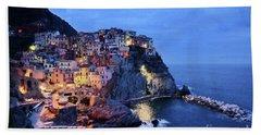 Tuscany Like Amalfi Cinque Terre Evening Lights Beach Sheet