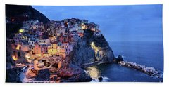 Beach Towel featuring the mixed media Tuscany Like Amalfi Cinque Terre Evening Lights by Rosario Piazza