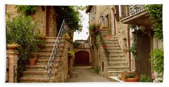 Tuscany Stairways Beach Towel by Donna Corless