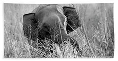 Tusker In The Grass Beach Towel by Pravine Chester