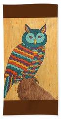 Beach Towel featuring the painting Tutie Fruitie Hootie Owl by Susie WEBER