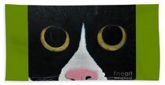 Tux Portrait  Beach Towel by Reina Resto