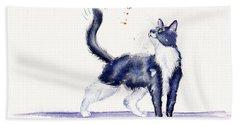 Tuxedo Cat And Bumble Bee Beach Sheet